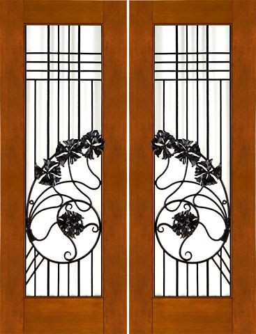 WDMA 60x96 Door (5ft by 8ft) Exterior Mahogany Pair of 2-1/4 Art Nouveau Doors Wrought Iron Low-E Glass 1