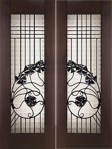 WDMA 60x96 Door (5ft by 8ft) Exterior Mahogany Pair of 2-1/4in Thick Art Nouveau Doors Wrought Iron Cast Glass 1