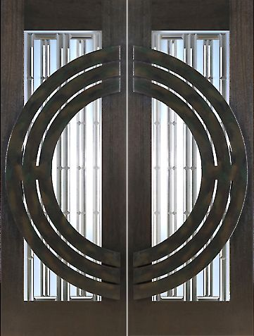 WDMA 60x96 Door (5ft by 8ft) Exterior Mahogany Pair of 2-1/4in Thick Doors Art Glass Iron Work 1