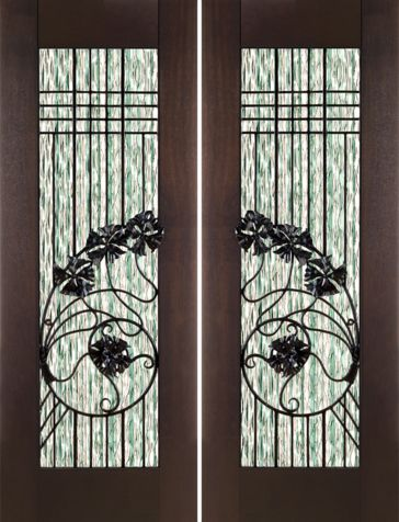 WDMA 60x96 Door (5ft by 8ft) Exterior Mahogany Pair of 2-1/4in Thick Art Nouveau Doors Waterfall Glass Wrought Iron 1