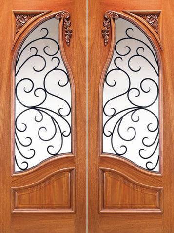WDMA 60x96 Door (5ft by 8ft) Exterior Mahogany Carved Panel Solid Double Doors Forged Iron 1