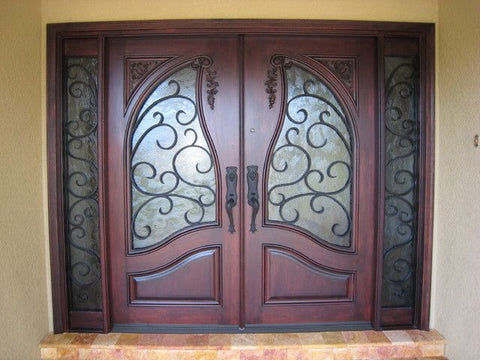 WDMA 60x96 Door (5ft by 8ft) Exterior Mahogany Carved Panel Solid Double Doors Forged Iron 2