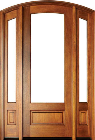 WDMA 62x80 Door (5ft2in by 6ft8in) French Mahogany Alexandria Arched 1 Lite Impact Single Door/2Sidelight Arch Top 1-3/4 Thick 1