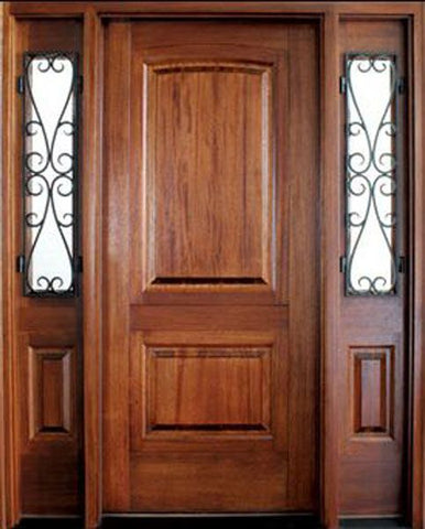 WDMA 62x80 Door (5ft2in by 6ft8in) Exterior Mahogany Solid Panel Single Door/2 El Presidio Sidelight Santa Barbara 1