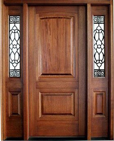 WDMA 62x80 Door (5ft2in by 6ft8in) Exterior Mahogany Solid Panel Single Door/2 Lake Norman Sidelight Santa Barbara 1