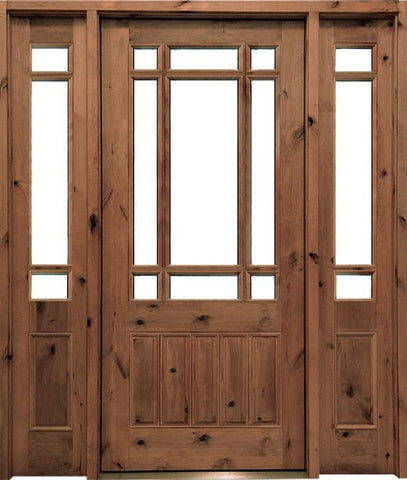 WDMA 62x80 Door (5ft2in by 6ft8in) Exterior Knotty Alder Walhalla Single Door/2Sidelight 1