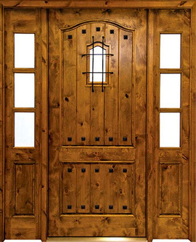 WDMA 62x80 Door (5ft2in by 6ft8in) Exterior Knotty Alder Kenmure Single/2Sidelight w Speakeasy 1