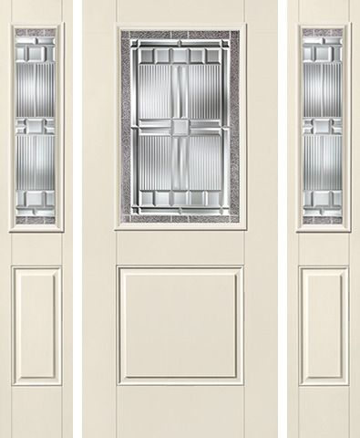 WDMA 62x80 Door (5ft2in by 6ft8in) Exterior Smooth SaratogaTM Half Lite 1 Panel Star Door 2 Sides 1