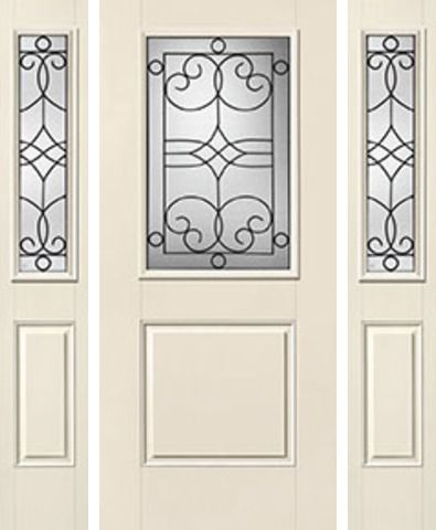 WDMA 62x80 Door (5ft2in by 6ft8in) Exterior Smooth Salinas Half Lite 1 Panel Star Door 2 Sides Half Lite Sidelight 1