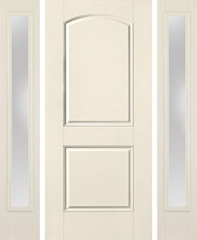 WDMA 62x80 Door (5ft2in by 6ft8in) Exterior Smooth 2 Panel Soft Arch Star Door 2 Sides Clear 1