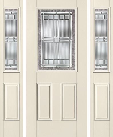 WDMA 62x80 Door (5ft2in by 6ft8in) Exterior Smooth SaratogaTM Half Lite 2 Panel Star Door 2 Sides 1