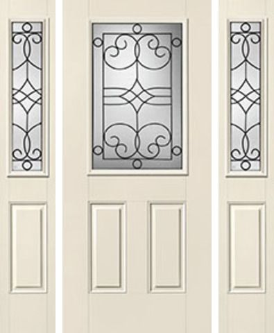 WDMA 62x80 Door (5ft2in by 6ft8in) Exterior Smooth Salinas Half Lite 2 Panel Star Door 2 Sides Half Lite Sidelight 1