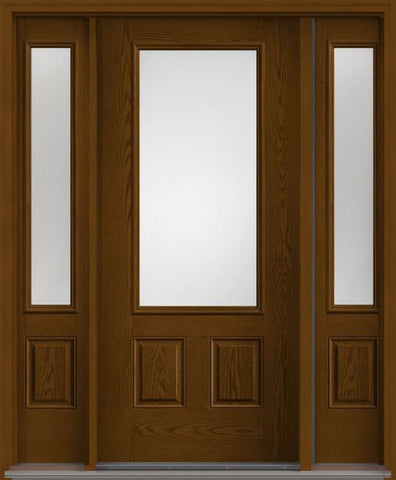 WDMA 62x80 Door (5ft2in by 6ft8in) French Oak Clear 3/4 Lite 2 Panel Fiberglass Exterior Door 2 Sides 1