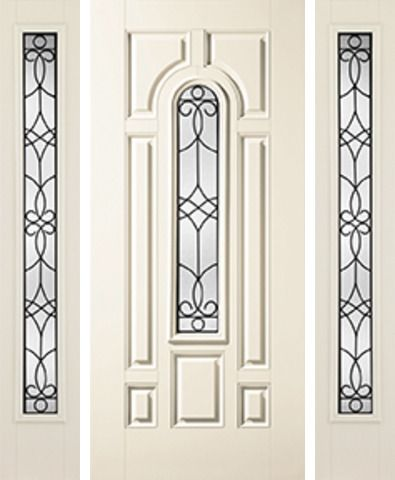 WDMA 62x80 Door (5ft2in by 6ft8in) Exterior Smooth Salinas Center Arch Lite 7 Panel Star Door 2 Sides Full Lite Sidelight 1