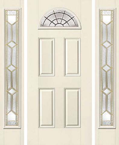 WDMA 62x80 Door (5ft2in by 6ft8in) Exterior Smooth CrystallineTM Fan Lite 4 Panel Star Door 2 Sides 1