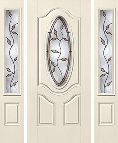 WDMA 62x80 Door (5ft2in by 6ft8in) Exterior Smooth Avonlea 3/4 Deluxe Oval Lite 2 Panel Star Door 2 Sides 1