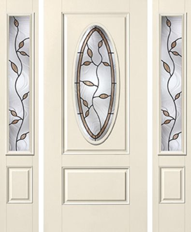 WDMA 62x80 Door (5ft2in by 6ft8in) Exterior Smooth Avonlea 3/4 Captured Oval Lite 1 Panel Star Door 2 Sides 1