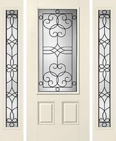 WDMA 62x80 Door (5ft2in by 6ft8in) Exterior Smooth Salinas 3/4 Lite 2 Panel Star Door 2 Sides 1