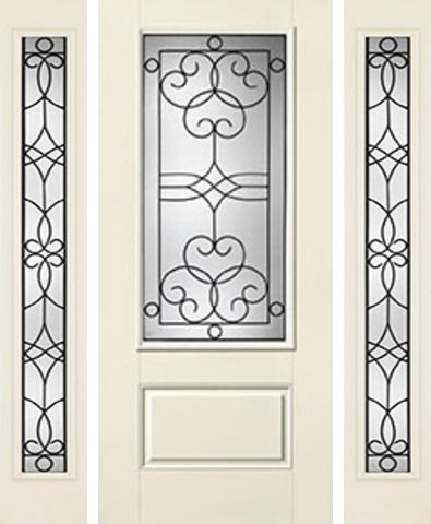 WDMA 62x80 Door (5ft2in by 6ft8in) Exterior Smooth Salinas 3/4 Lite 1 Panel Star Door 2 Sides 1