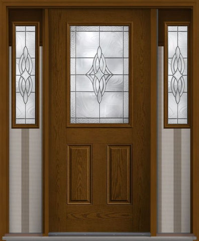 WDMA 62x80 Door (5ft2in by 6ft8in) Exterior Oak Wellesley Half Lite 2 Panel Fiberglass Door 2 Sides 1