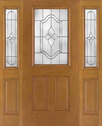 WDMA 62x80 Door (5ft2in by 6ft8in) Exterior Oak Fiberglass Door 1/2 Lite Concorde 6ft8in 2 Sidelight 1