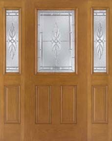 WDMA 62x80 Door (5ft2in by 6ft8in) Exterior Oak Fiberglass Door 1/2 Lite Kensington 6ft8in 2 Sidelight 1