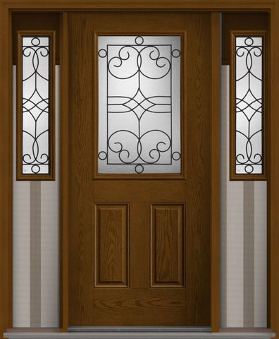 WDMA 62x80 Door (5ft2in by 6ft8in) Exterior Oak Salinas Half Lite 2 Panel Fiberglass Door 2 Side 1