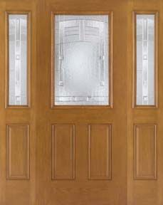 WDMA 62x80 Door (5ft2in by 6ft8in) Exterior Oak Fiberglass Door 1/2 Lite Maple Park 6ft8in 2 Sidelight 1