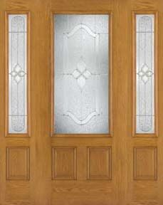 WDMA 62x80 Door (5ft2in by 6ft8in) Exterior Oak Fiberglass Door 3/4 Lite Concorde 6ft8in 2 Sidelight 1