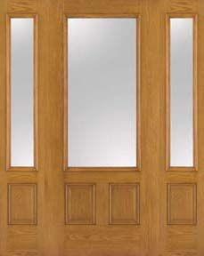 WDMA 62x80 Door (5ft2in by 6ft8in) French Oak Fiberglass Impact Door 3/4 Lite Clear 6ft8in 2 Sidelight 1