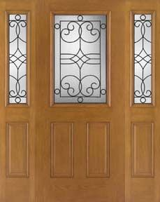 WDMA 62x80 Door (5ft2in by 6ft8in) Exterior Oak Fiberglass Impact Door 1/2 Lite Salinas 6ft8in 2 Sidelight 1