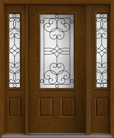 WDMA 62x80 Door (5ft2in by 6ft8in) Exterior Oak Salinas 3/4 Lite 2 Panel Fiberglass Door 2 Sides 1