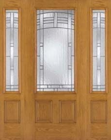 WDMA 62x80 Door (5ft2in by 6ft8in) Exterior Oak Fiberglass Door 3/4 Lite Maple Park 6ft8in 2 Sidelight 1