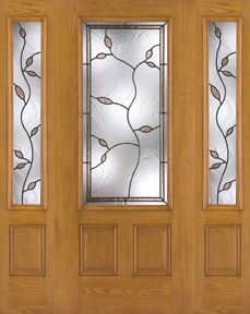 WDMA 62x80 Door (5ft2in by 6ft8in) Exterior Oak Fiberglass Door 3/4 Lite Avonlea 6ft8in 2 Sidelight 1