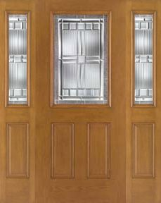 WDMA 62x80 Door (5ft2in by 6ft8in) Exterior Oak Fiberglass Impact Door 1/2 Lite Saratoga 6ft8in 2 Sidelight 1