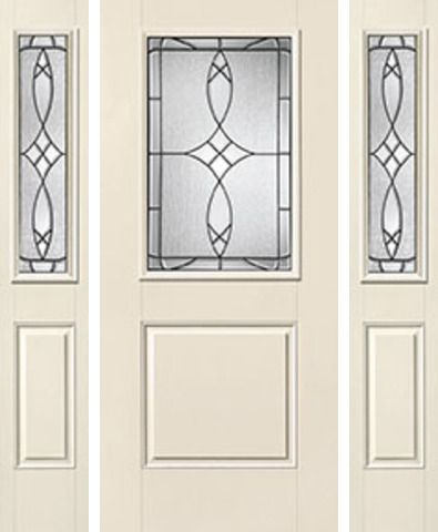 WDMA 62x80 Door (5ft2in by 6ft8in) Exterior Smooth Blackstone Half Lite 1 Panel Star Door 2 Sides Half Lite Sidelight 1