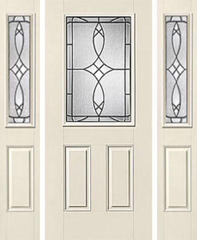 WDMA 62x80 Door (5ft2in by 6ft8in) Exterior Smooth Blackstone Half Lite 2 Panel Star Door 2 Sides Half Lite Sidelight 1