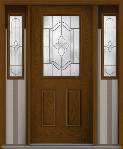 WDMA 62x80 Door (5ft2in by 6ft8in) Exterior Oak Concorde Half Lite 2 Panel Fiberglass Door 2 Sides 1