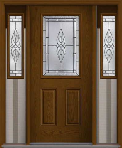 WDMA 62x80 Door (5ft2in by 6ft8in) Exterior Oak Kensington Half Lite 2 Panel Fiberglass Door 2 Sides 1
