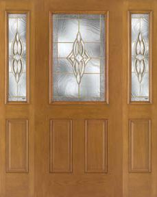 WDMA 62x80 Door (5ft2in by 6ft8in) Exterior Oak Fiberglass Impact Door 1/2 Lite Wellesley 6ft8in 2 Sidelight 1