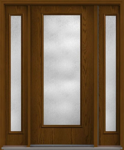 WDMA 62x80 Door (5ft2in by 6ft8in) French Oak Rainglass Full Lite Flush Fiberglass Exterior Door 2 Sides 1