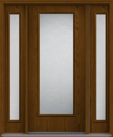 WDMA 62x80 Door (5ft2in by 6ft8in) Exterior Oak Granite Full Lite Flush Fiberglass Door 2 Sides 1