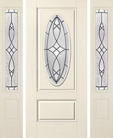 WDMA 62x80 Door (5ft2in by 6ft8in) Exterior Smooth Blackstone 3/4 Captured Oval Lite 1 Panel Star Door 2 Sides 1