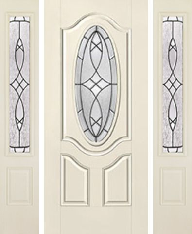 WDMA 62x80 Door (5ft2in by 6ft8in) Exterior Smooth Blackstone 3/4 Deluxe Oval Lite 2 Panel Star Door 2 Sides 1