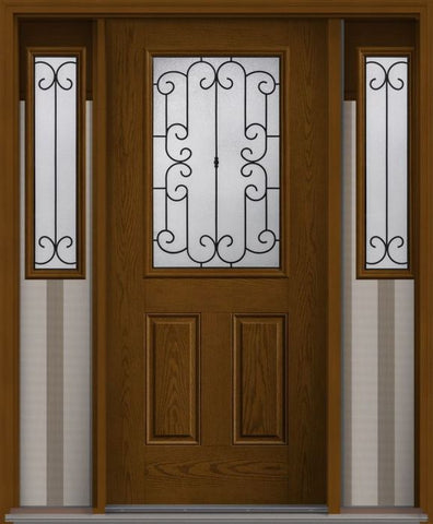 WDMA 62x80 Door (5ft2in by 6ft8in) Exterior Oak Riserva Half Lite 2 Panel Fiberglass Door 2 Sides 1
