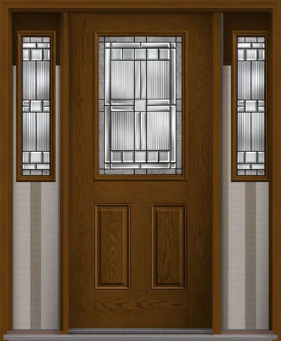 WDMA 62x80 Door (5ft2in by 6ft8in) Exterior Oak Saratoga Half Lite 2 Panel Fiberglass Door 2 Sides 1