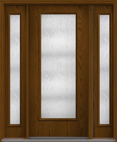 WDMA 62x80 Door (5ft2in by 6ft8in) French Oak Chord Full Lite Flush Fiberglass Exterior Door 2 Sides 1