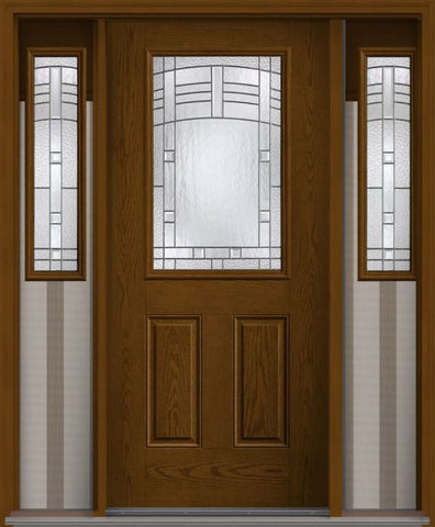 WDMA 62x80 Door (5ft2in by 6ft8in) Exterior Oak Maple Park Half Lite 2 Panel Fiberglass Door 2 Sides 1