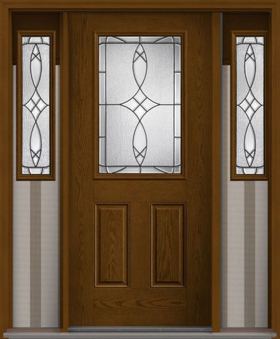 WDMA 62x80 Door (5ft2in by 6ft8in) Exterior Oak Blackstone Half Lite 2 Panel Fiberglass Door 2 Sides 1