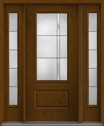 WDMA 62x80 Door (5ft2in by 6ft8in) Exterior Oak Axis 3/4 Lite 1 Panel Fiberglass Door 2 Sides 1